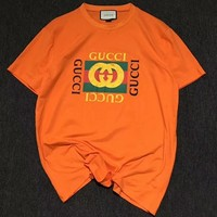 GUCCI classic tide brand fashion classic logo orange T-shirt F-CY-MN