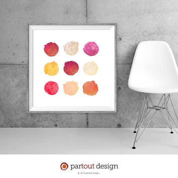 9 Circle Printable Art Watercolor Printables Modernist Wall Art Minimalist Art Print Instant download art watercolor art prints digital art