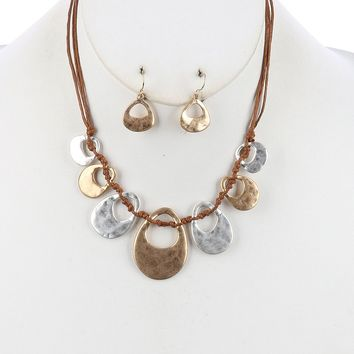 Cutout Multi Cord Bib Two Tone Knotted Necklace Earring Set Gold