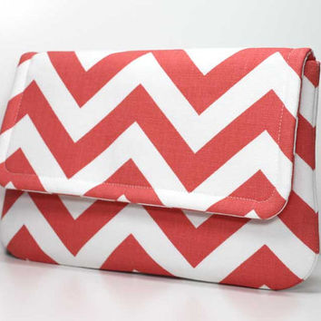 Clutch Purse - Coral and Off White Chevron