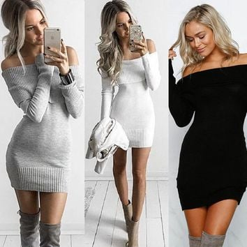 2018 Autumn and winter one word collar dew shoulder sexy slim sweater skirt knitting sweater girl