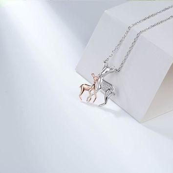 2018 Cute Animal 925 Sterling Silver Charm Deer Mom Daughet Love Freedom Pendant Necklace Gifts for Women Girl Jewelry gifts