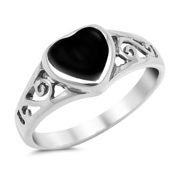 Black Onyx Heart Sterling Silver Ring