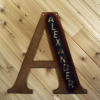 Large Letter with name cutout - Metal Wall Art - Metal Wall Hanging By PrecisionCut