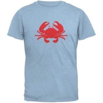 CREYCY8 Summer - Crab Faux Stitched Light Blue Adult T-Shirt