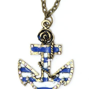 Striped Anchor Necklace Nautical Sailor Blue White NH13 Vintage Retro Charm Pendant Yacht Fashion Jewelry