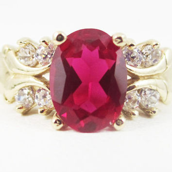 Ruby 14k Yellow Gold CZ Accent Oval Ring, Engagement Ring, July Birthstone Ring, Multi Stone Ring, Solid 14 Karat Yellow Gold Ring, Red Ruby