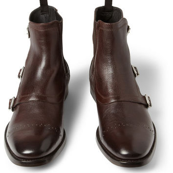 Alexander McQueen Triple Monk-Strap Brogue Boots | MR PORTER