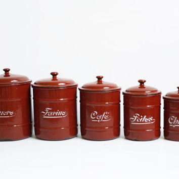 5 kitchen canisters French enamel storage jars canisters with lids sugar flour coffee pasta French enamelware red country kitchen provincial