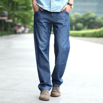 Man Jeans Middle-age Denim Jeans Jogger Casual Middle Waist Loose Long Pants Male Solid Straight Jeans For Men Classical Size 48