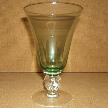 Designer Water Glass Short Stem 7in x 4in x 4in Green/Clear Classic -- Used