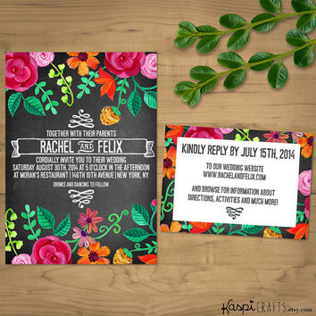 Chalkboard wedding invitation, floral chalkboard, printable wedding invitation, printed invitation, DIY wedding