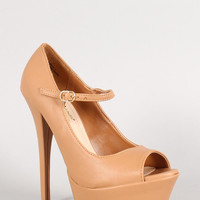 Anne Michelle Leatherette Peep Toe Mary Jane Stiletto Pump Color: Natural, Size: 8.5
