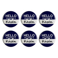 Kasen Hello My Name Is Plastic Resin Button Set of 6