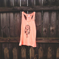 Neon Coral Racerback Dream Catcher Tanktop