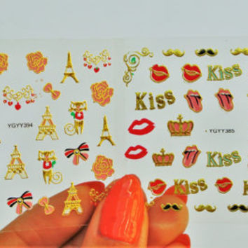 2 sheets Red Lips Nail Sticker, Nail Decal, Gold Nail Art, Paris Nail Decal, Bow Nails, Stickers, Crown Nail Art, Kiss Nails, Lips Nails