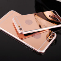 New fashion electroplating mirror Case Cover for Apple iPhone 5s 5 SE 6 6S 6 Plus 6S Plus LJ160831-003