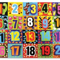 3 Item Bundle: Melissa and Doug 3832 Jumbo Numbers and 3833 Jumbo ABC Chunky Puzzles   Activity Boo