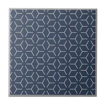 Dark Blue Gray Border White Geometric Pattern Tile