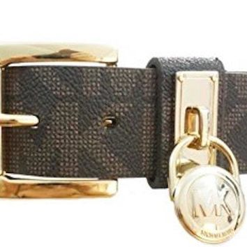 Michael Kors Belt With Classic Roller And Hamilton Lock Hoop In Logo