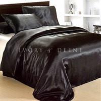 Luxury Black Satin Doona Cover Bedding Set