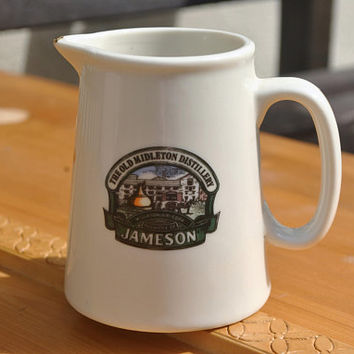 Jameson Whisky Ceramic Jug. Irish Shannonbridge Pottery Water Pitcher. Drinkware, Barware, Mancave, Bar, Small White Creamer, Milk Jug, Jar