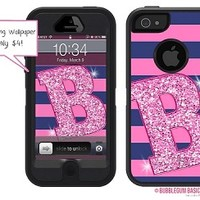 Personalize your Incipio Waterproof Case for iPhone 5 - Stripes Glitter Initial 37
