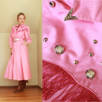 80s - Rhinestone Cowgirl - Rodeo Queen - Country Western - Studded - Pink - Southwestern - Fringe Shoulders - Full Skirt - Long - Maxi Dress