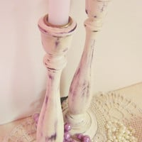Distressed  White Candlesticks Shabby Decor for Home, Wedding or Special Event