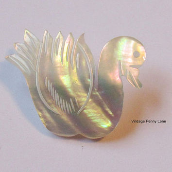 Vintage Mother of Pearl Pin, Carved Swan / Duck Brooch