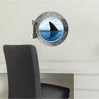 Port Scape Shark Fin #1 Porthole Wall Sticker Graphic Decal Instant Great White Sea Window View Kids Game Room Decor Art NEW