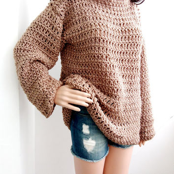 SWEATER CROCHET PULLOVER Beige Sweater Sexy Crochet Sweater Pulovers Tunic Sweaters 885