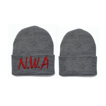 N.W.A Embroidered Unisex Knitted Hat Womens & Mens Eazy E Ice Cube Dr Dre Hip Hop Warm Girl Boy Winter Red & Gray Cuffed Skully Hat