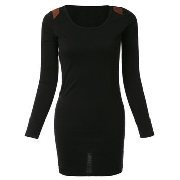 Casual Style Scoop Neck Packet Buttock Bodycon Rivet Embellished Long Sleeve Women's Dress