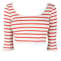 Striped Red Stripe Crop Top at Fashion Union