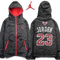 Jordan Men Fashion Print Cardigan Jacket Coat Windbreaker