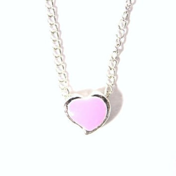 Tiny Heart Necklace Pink Sweetheart Little Love Romance NB37 Silver Tone Dainty Pendant Fashion Jewelry