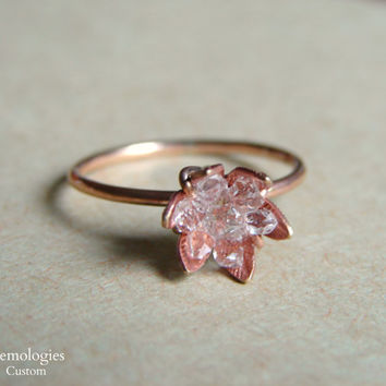 Raw Herkimer Diamond Ring on Rose Gold, Raw Crystal Ring for Her, Christmas for Wife, Wife Anniversary, Girlfriend Gift