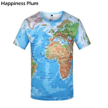 World Map 3d Print T-shirt Funny T Shirts 2017 Summer Brand Clothing Mens T-shirt Men T Shirt Hip Hop Tshirt Men Brand Sexy Man