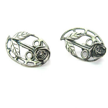 Sterling Silver Rose Earrings Handmade Arts and Crafts Engraved Leaves Geometric Flower Screw Back Vintage Mid Century Fashion Jewelry 1950s