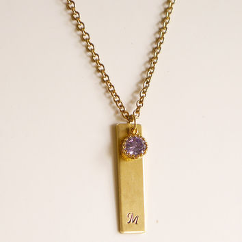 Cursive Initial with Purple CZ Necklace