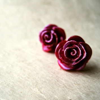 Raspberry Rose Earrings. Wine Red Metallic Plum Handmade Polymer Clay Earrings. Pink Berry Earrings. Handcrafted Jewelry FSE1.