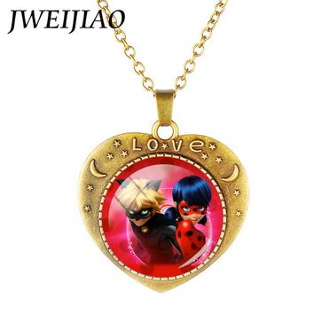 JWEIJIAO Heart Shape Ladybug Girl And Balck Cat Pendant Necklace Antique Bronze Love Heart Charms For Cute Girl Boy Gift LB80