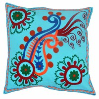 "16"" Suzani Cushion Cover Floral Indian Hand Embroidered Pillow Case Throw 4024"