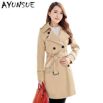Plus Size Women Clothing Spring Autumn Double Breasted Md-long Coat 2017 New Fashion Belt rench coat for women Outwears trench