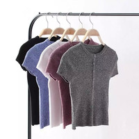 Summer Round-neck Slim Short Sleeve Knit Tops [8173419655]