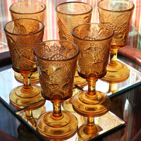 Vintage Wine Golbets Golden Amber Yellow Glass Stemware Wine Cups Champagne Glasses