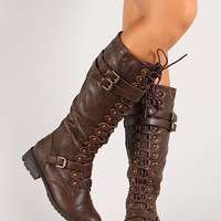 Triple Buckle Lace Up Knee High Boot
