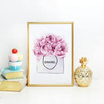 Chanel Bag PRINTABLE ART Chanel poster Fashion art illustration Dorm room Chanel perfume Chanel wall art Coco chanel Chanel Bag Peony Poster