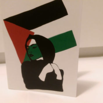 Palestine/Gaza Revolution Card (blank inside, folded card, Free Gaza and Palestine)